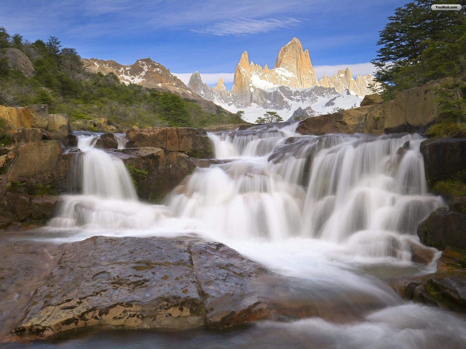 Waterfall Mountains HD Wallpapers