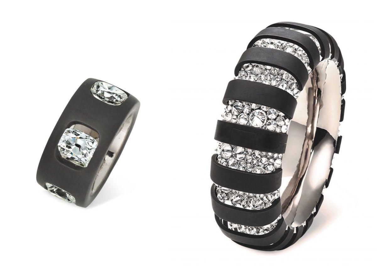Hemmerle ring, diamonds, iron, white gold; Hemmerle bangle, diamonds, iron, silver, white gold