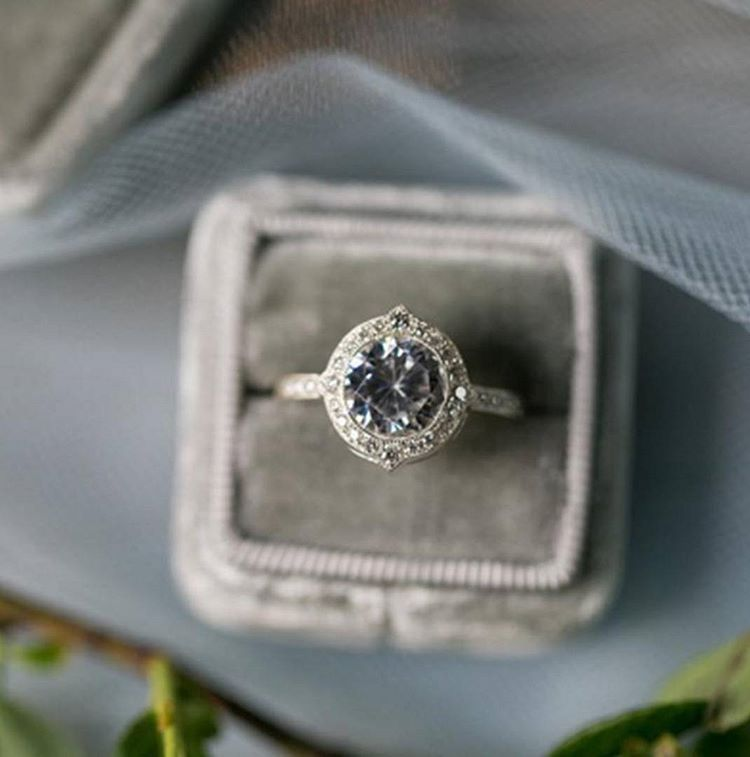 This is one way to incorporate one of the @pantone #ColorOfTheYear #Serenity into your spring wedding! Gorgeous gray diamond via @susiesaltzman #rockinmybox #engagement #ring #inspiration