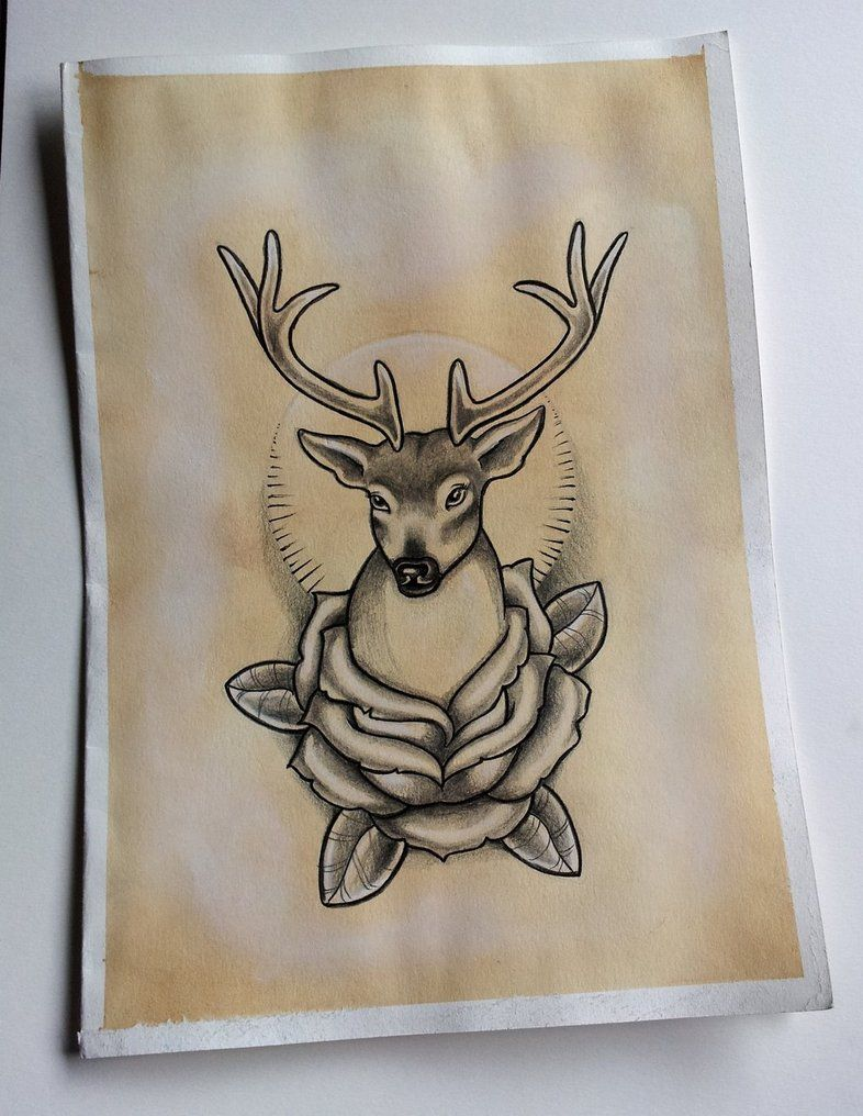 Simple Stag and Roses Tattoo Design by kirstynoelledavies