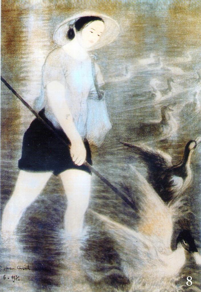 Chị chăn vịt (1971) Nguyễn Phan Chánh ( Silk Painting