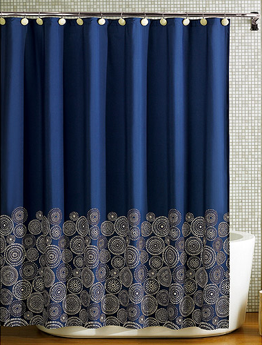 Navy blue and gold curtains  Shower em for marvelous shower mexican curtain This is 65 but it would be so easy to