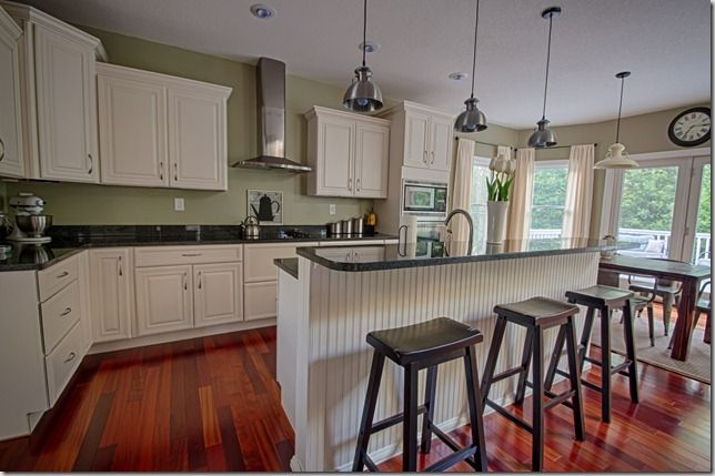 Kitchen Tour on the blog today! white cabinets, granite, Svelte Sage