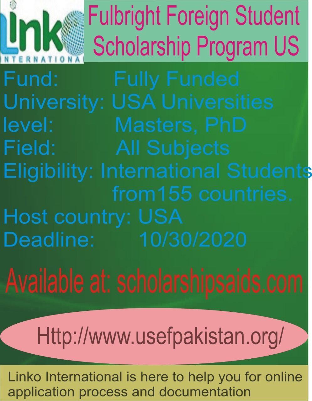 Information About Fulbright Scholarship Usa For Pakistan