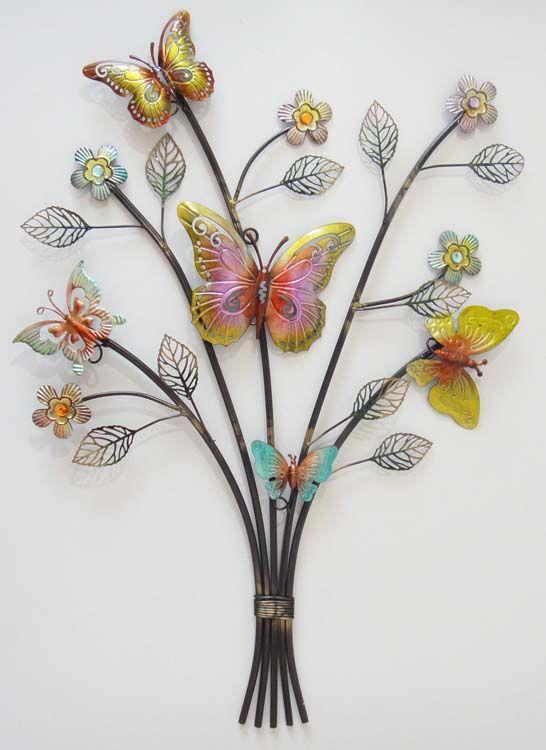 Metal wall art butterfly flower spray metal wall art contemporary art range brilliant wall art