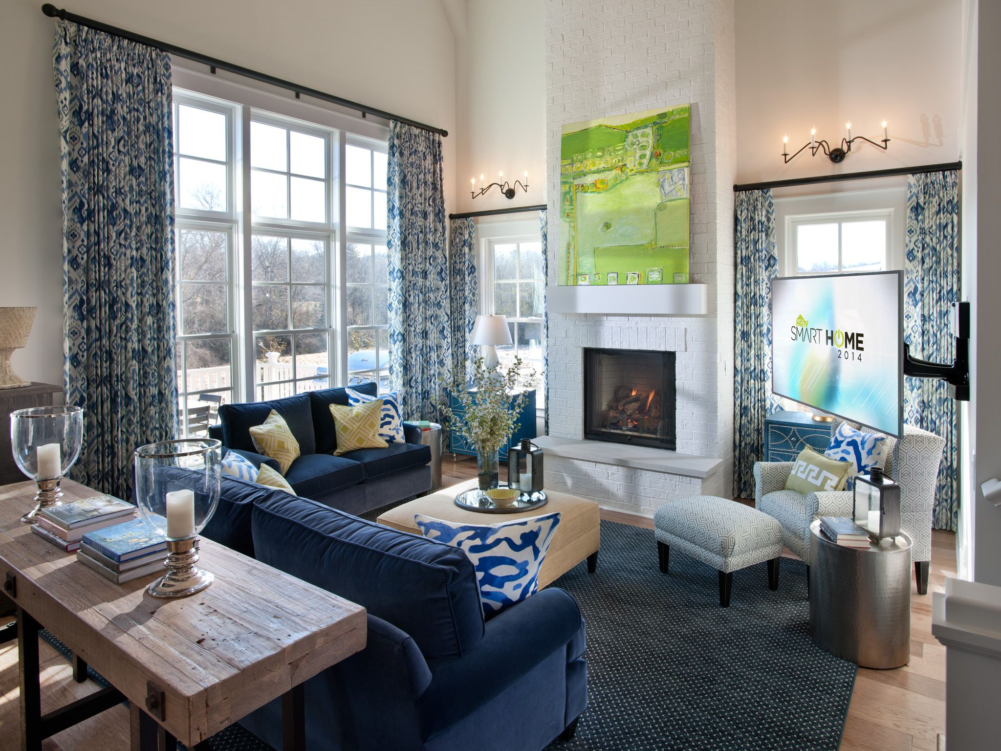 Great Room Decorating Ideas Pictures Part - 15: Luxury Living Room Home Decor Ideas Feature Navy Blue Sectional Sofa Design  And Creamy Ottoman Coffee