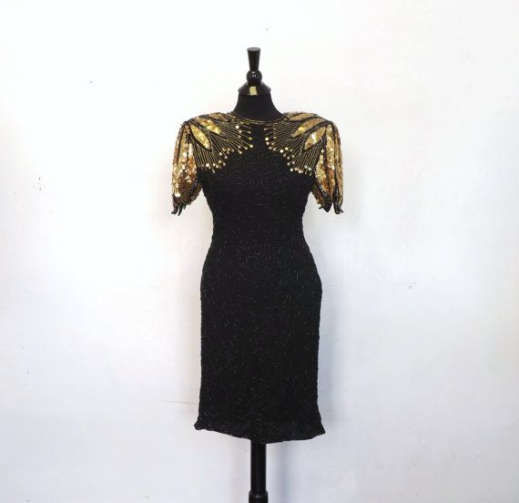 5456fb2e Vintage 80s Silk Exclusively Gantos Black Sequin Beaded Gown Great Gatsby  20s Style Short Evening Gown Flapper Glam 30s 40s Lounge Singer
