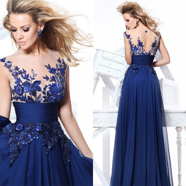 Royal Blue Chiffon Illusion Evening | Formal dresses, Plus size ...