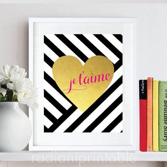 Je T\'aime Heart Gold Print Love Art Printable, Home Office art, wall ...