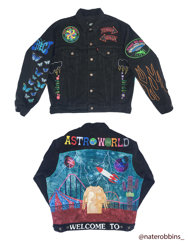 Art Custom Astroworld Denim Jacket Designed Amp Patched Myself Custom Denim Custom Denim Jacket Denim Jacket [ 3000 x 2304 Pixel ]