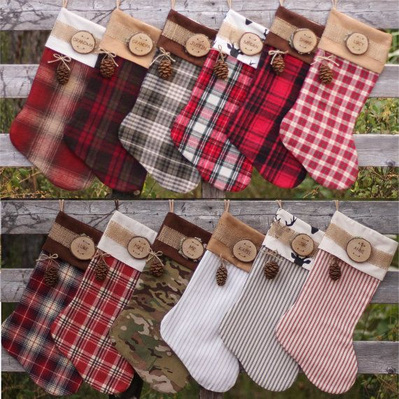 d7f115af5a9 Set of 6 Personalized Christmas Stocking with Wood Slice Name Tag ...