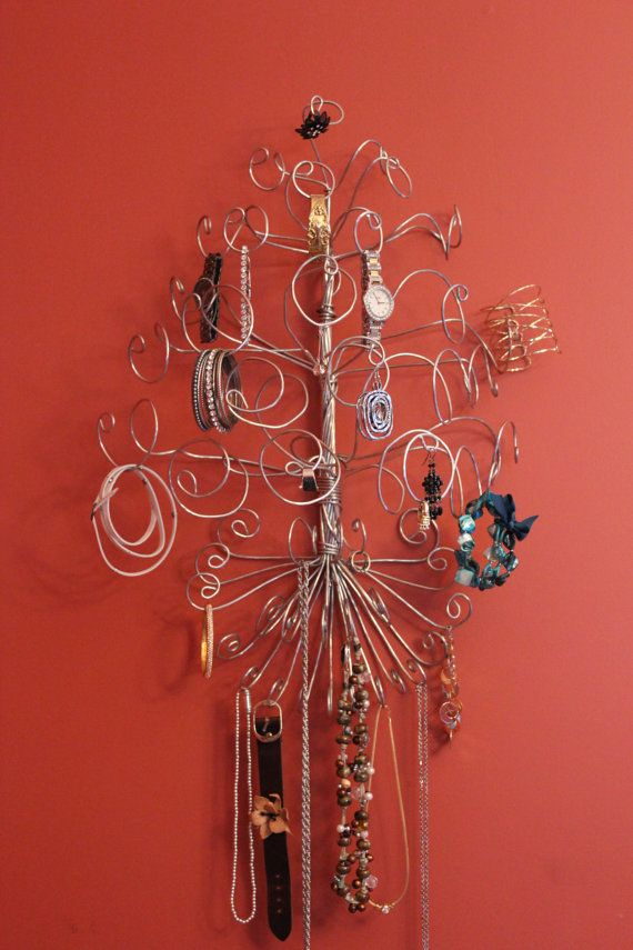 Wall Mouted Jewelry  Wire Tree Stand Necklace by schenalindley, $27.00