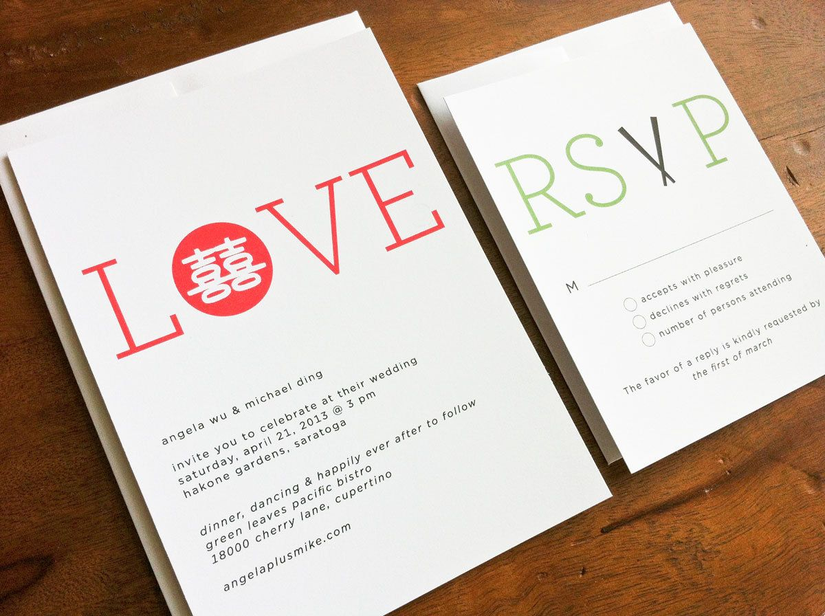 Double Happiness Wedding Invitations Set of 50 - Simple Red Chinese ...