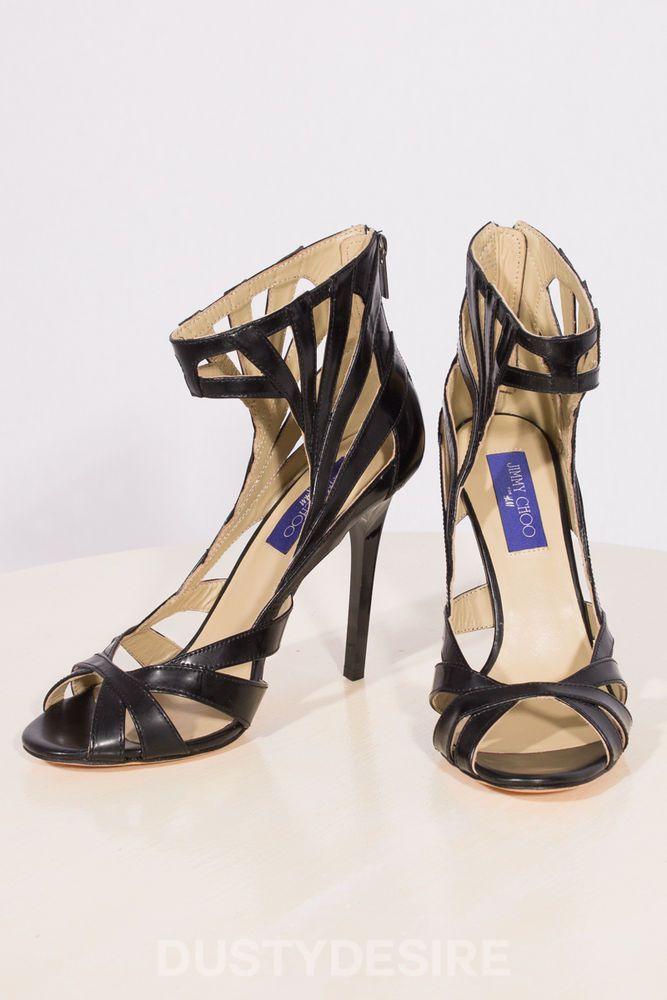 JIMMY CHOO H&M CAGE LEATHER SANDALS HEELS HEELS HEELS Schuhe BLACK SIZE UK 7 EUR 8b814a