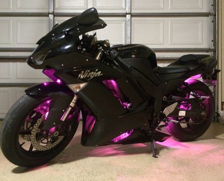 My Ninja 600 with pink LEDs I added myself! :) #motorcycle