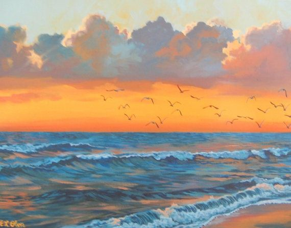 Watercolor Sunrise Tattoos Ocean Sunrise With Gulls Original