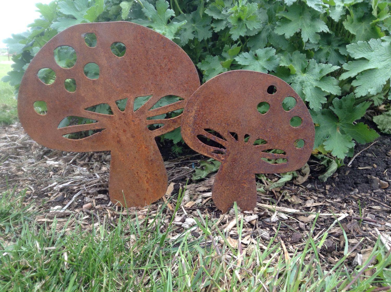 Rusty Metal Toadstools Fairy Mushroom Garden Ornament Rustic