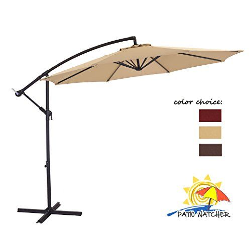 Patio Watcher 10 Feet 8 Ribs 250gsm Uv Resistant Polyester Fabric Aluminum Offset Patio Umbrella B Patio Umbrella Rectangular Patio Umbrella Pergola Plans Diy