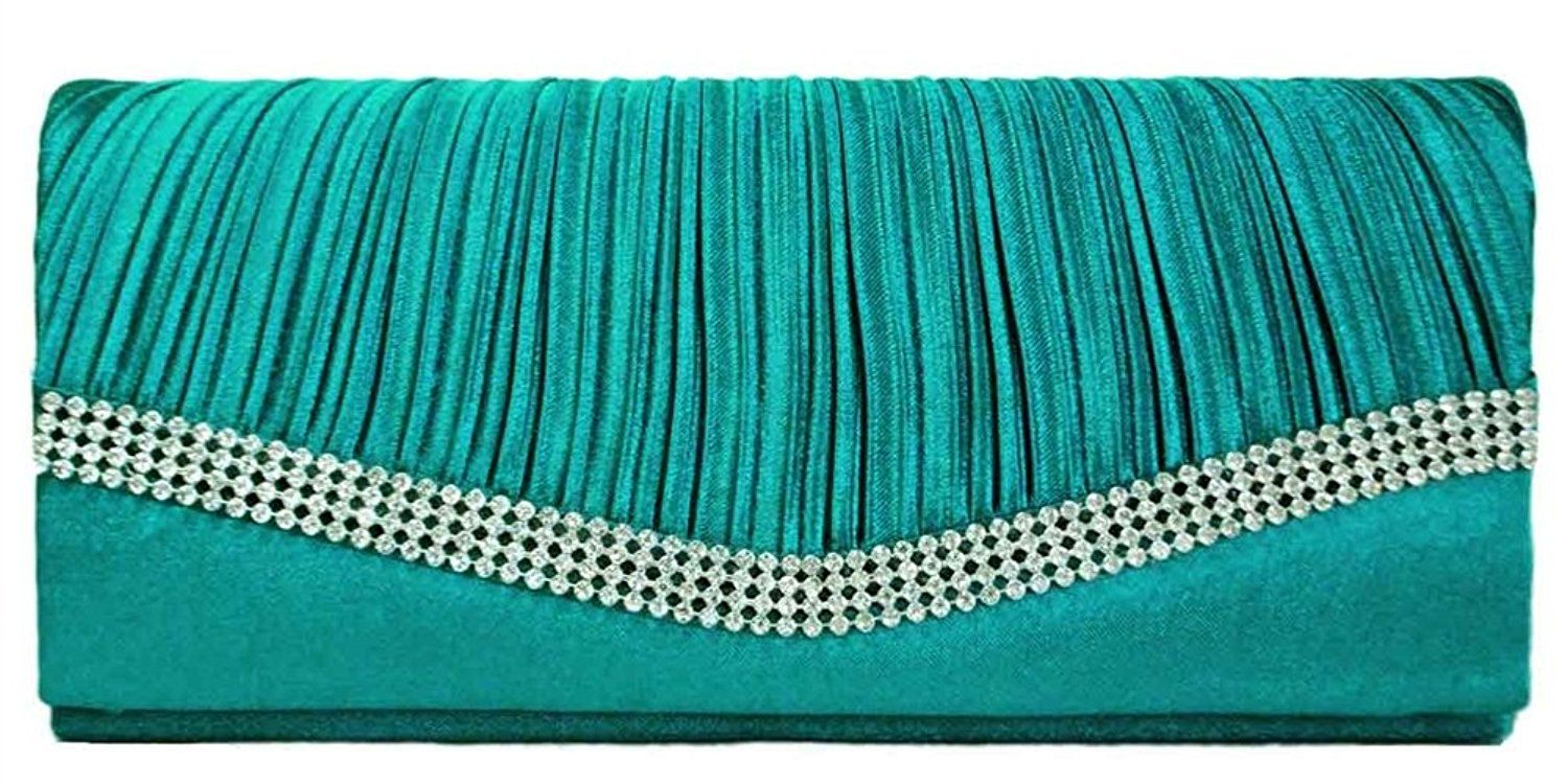 Chicastic Teal Blue Pleated Satin Wedding Evening Bridal Clutch Purse With Rhinestones: Handbags: Amazon.com