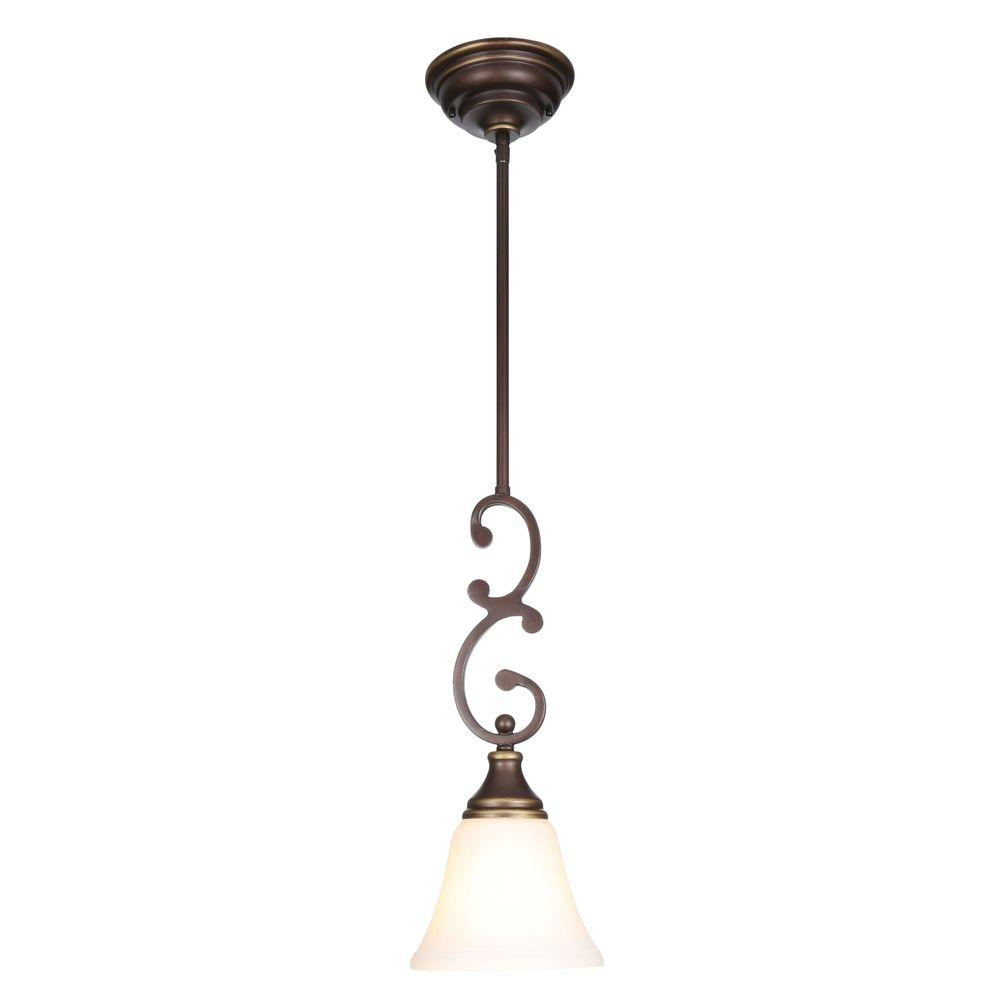 Hampton Bay Somerset 1 Light Oil Rubbed Bronze Mini Pendant With Bell Shaped Frosted Glass Shade Gex8991am Pendant Lighting Hanging Pendant Lights Hampton Bay