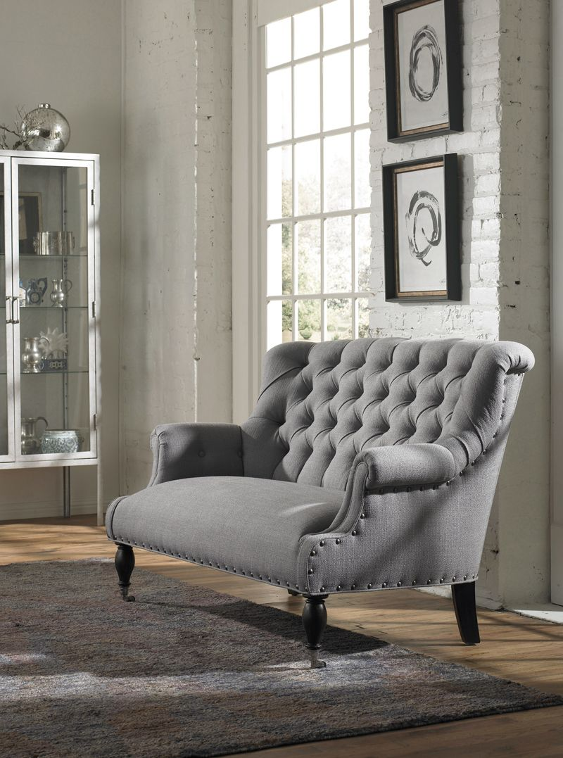 Vanguard Gray Tufted Settee   Toms Price Furniture