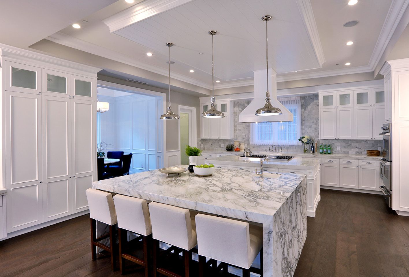 Luxury modern white kitchen with marble island  DIGS
