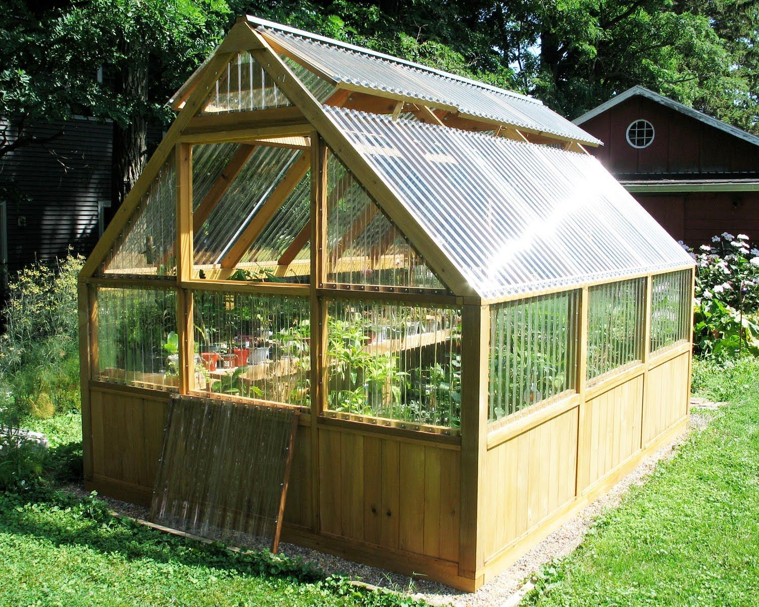 Diy greenhouse plans and greenhouse kits lexan polycarbonate cedar wood framed greenhouse