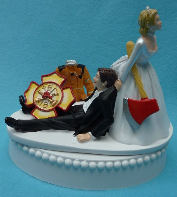 Wedding Cake Topper Firefighter Fireman Logo Uniform Axe Themed W Bridal Garter Bride Groom Fire Jacket Tribute Funny Reception Centerpiece