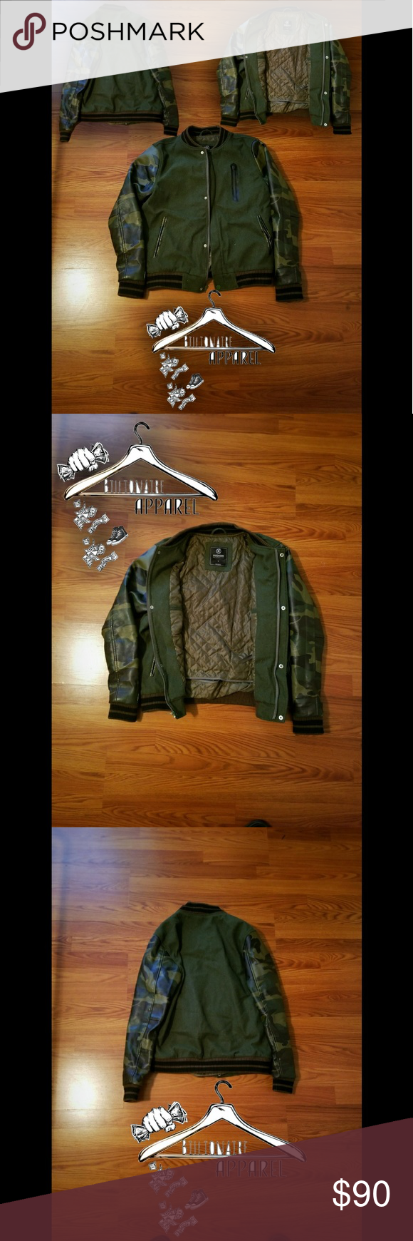 Hudson Outerwear Jacket Hudson Outerwear Army Green Jacket With Camo Sleeves Size Men S Small Color Olive Camo Gree Army Green Jacket Clothes Design Fashion [ 1740 x 580 Pixel ]