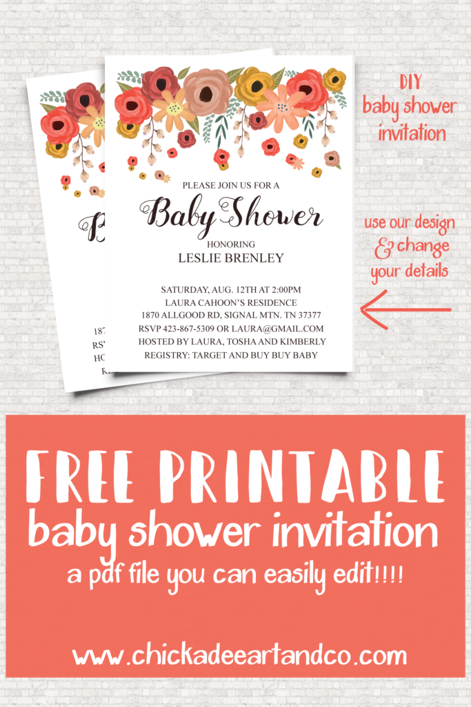 free floral baby shower invitation free printables baby shower