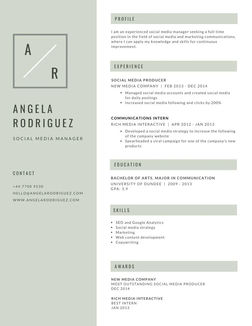 Pin by parzyseven on Resume in 2020 Minimalist resume