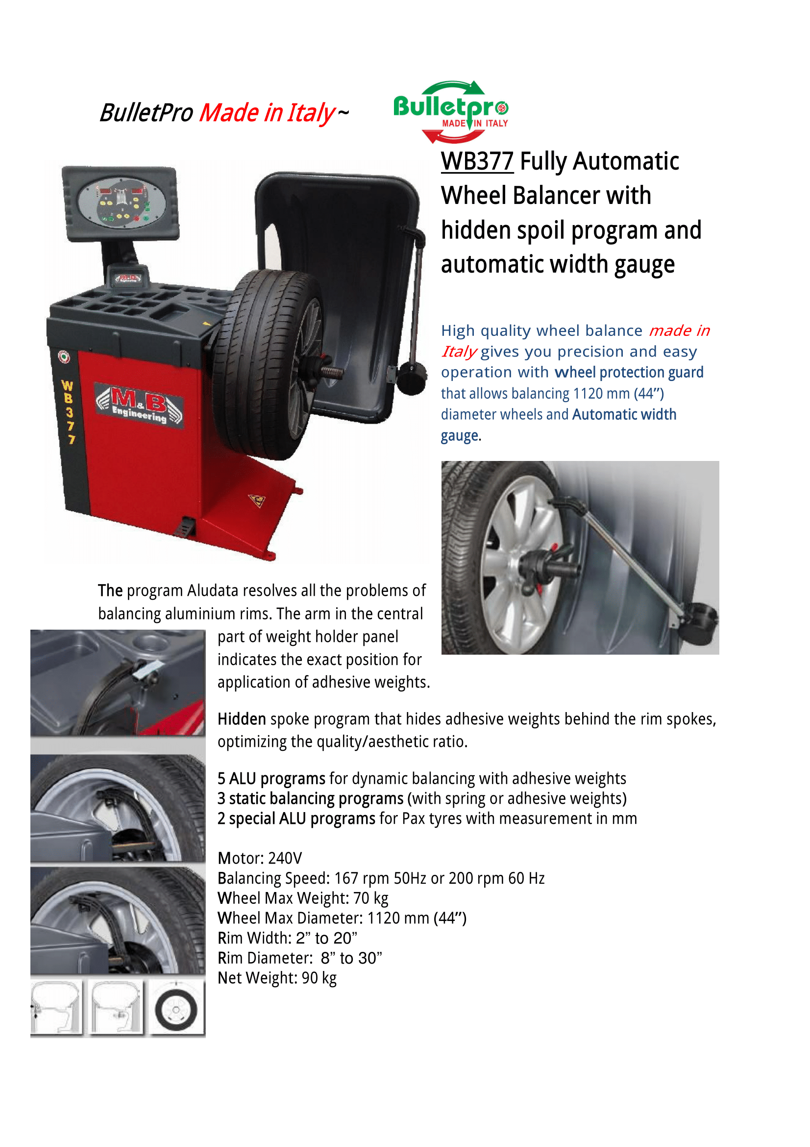 Made In Italy Wb377 Full Automatic Wheel Balancer With Hidden Spoil Program And Automatic Width Gauge Wheel Protection Garage Equipment Gauges