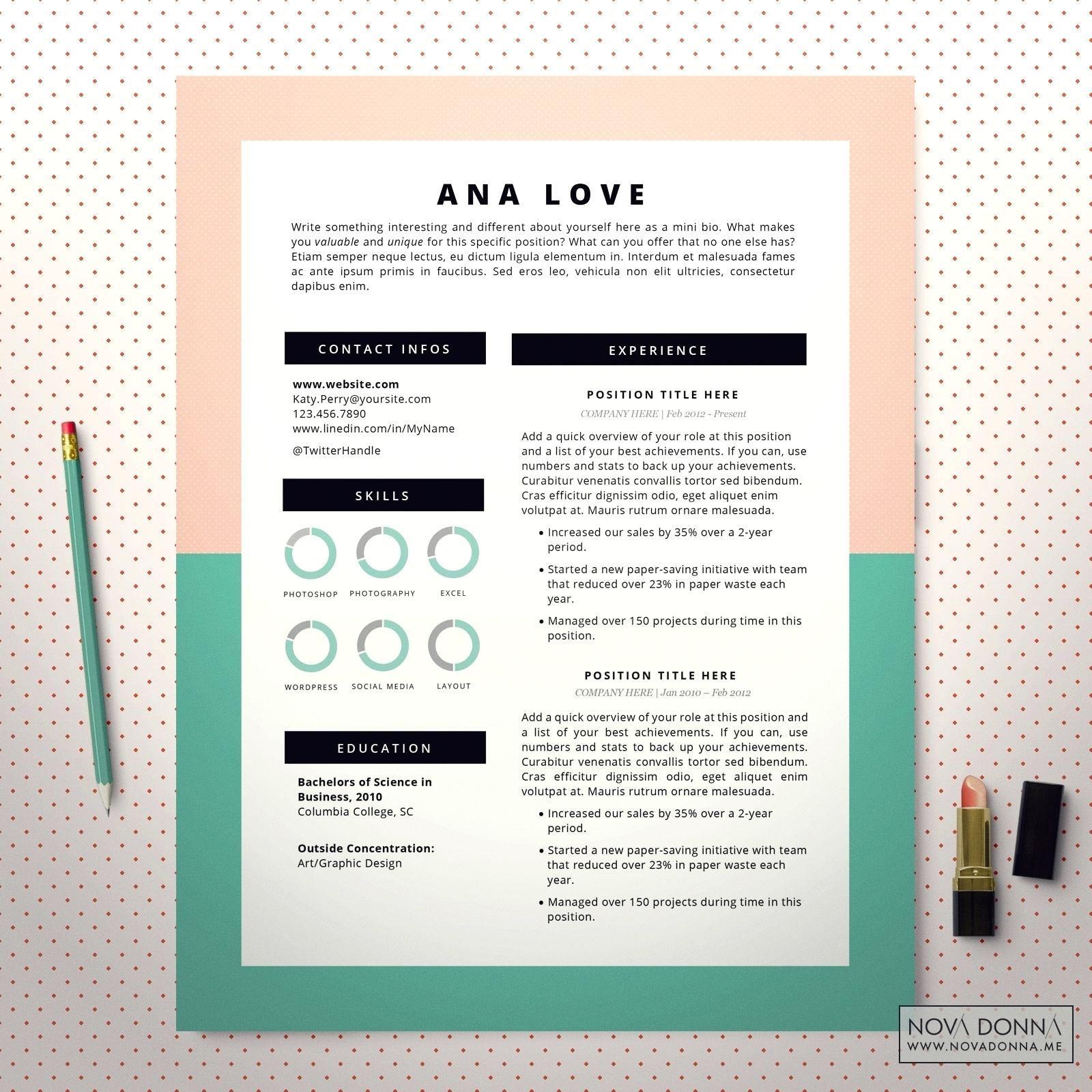 Instructional designer resume template pastel cover