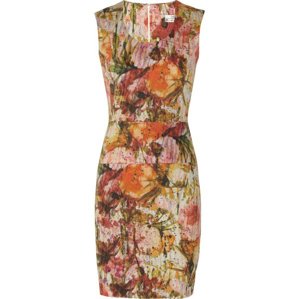Erdem Gwendolyn printed cotton-blend twill dress ($354) ❤ liked on Polyvore