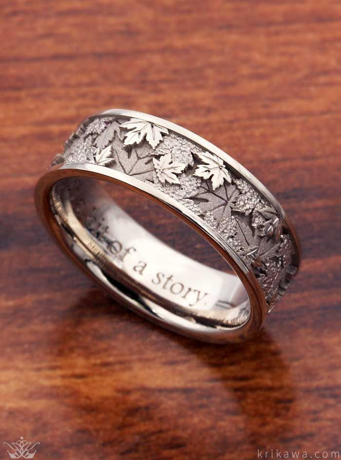 Maple Leaf Wedding ceremony Band in 14ok Pure White Gold. A favourite nature image, the #purewhite