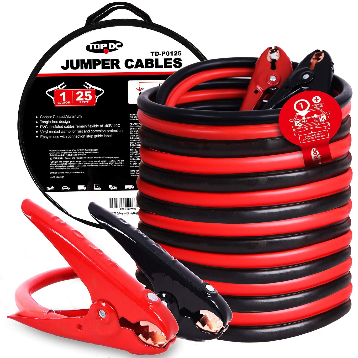 Topdc Jumper Cables 1 Gauge 25 Ft 700amp Heavy Duty Booster Cables With Carry Bag 1awg X 25 You Can Find Out More Detai Heavy Duty Carry On Bag Carry On