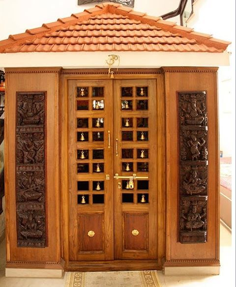 Pooja room design ideas pooja room ideas pinterest for Simple door designs for indian homes