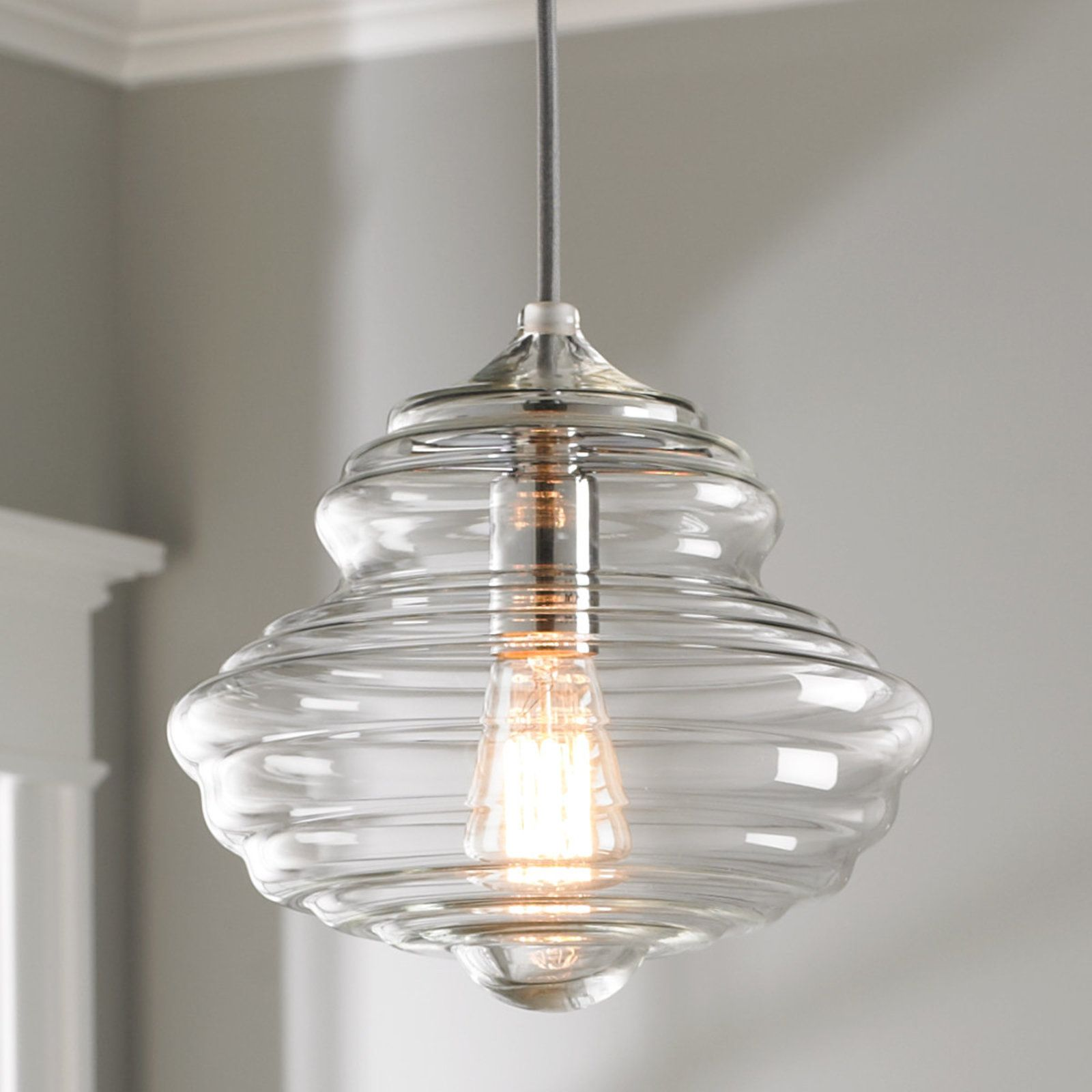 Closed Bell Gl Pendant Chrome Kitchen Light