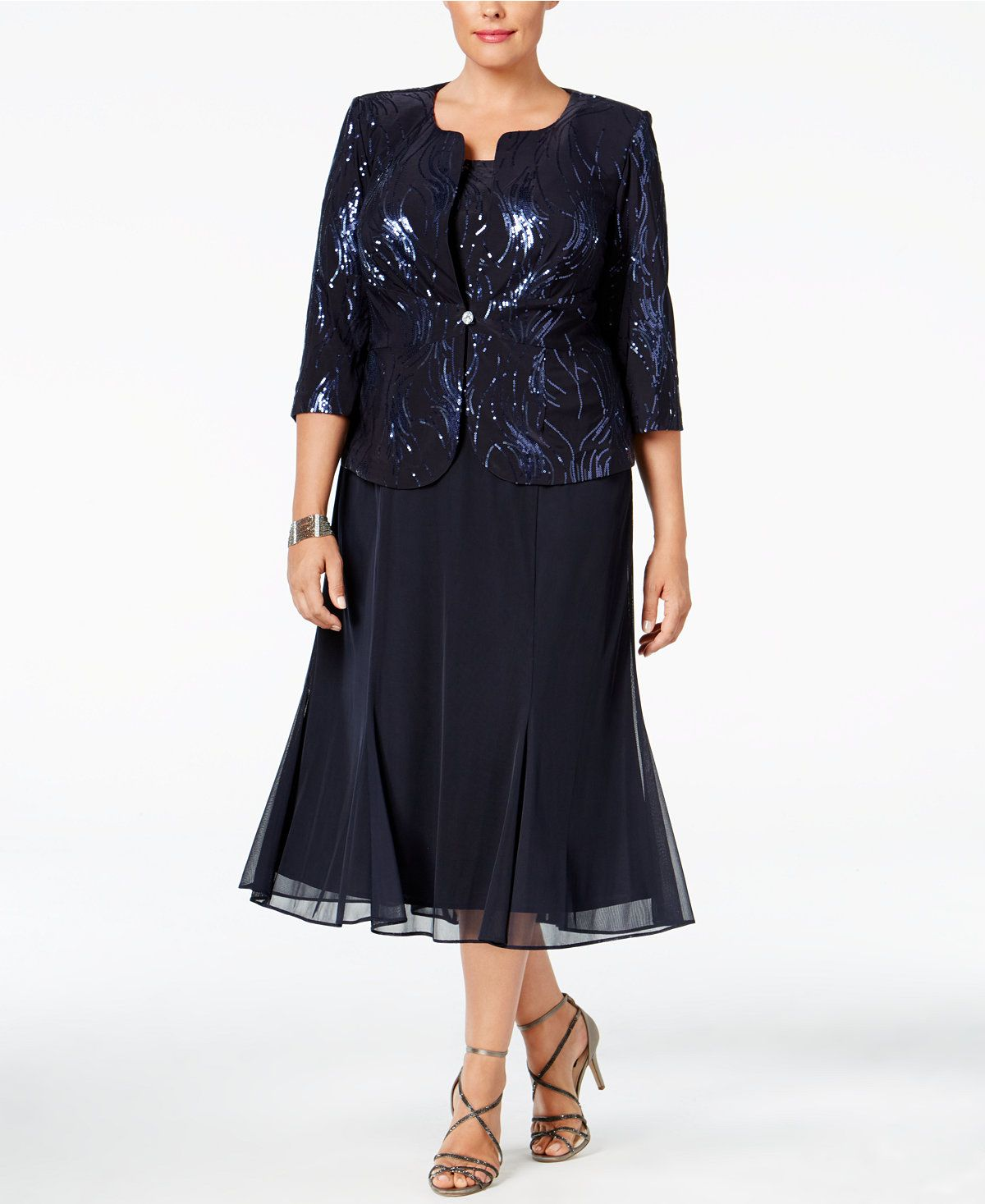 859e95b106422 Alex Evenings Plus Size Sequined Chiffon Dress and Jacket - Dresses - Women  - Macy s