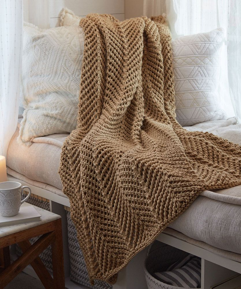 Zigging Knit Throw | Red Heart | Projects to Try | Pinterest | Free ...