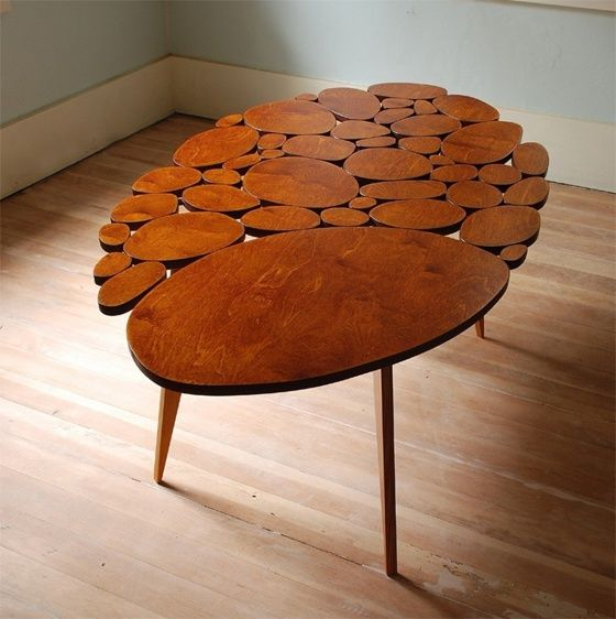 Unique And Creative Wooden Coffee Table Design Ideas With Modern Wood Circle