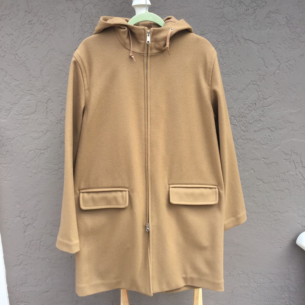 J Crew Women S Medium Wool Blend Coat Jacket Hood Zipper Coats Jackets Womens Medium Jackets [ 1000 x 1000 Pixel ]
