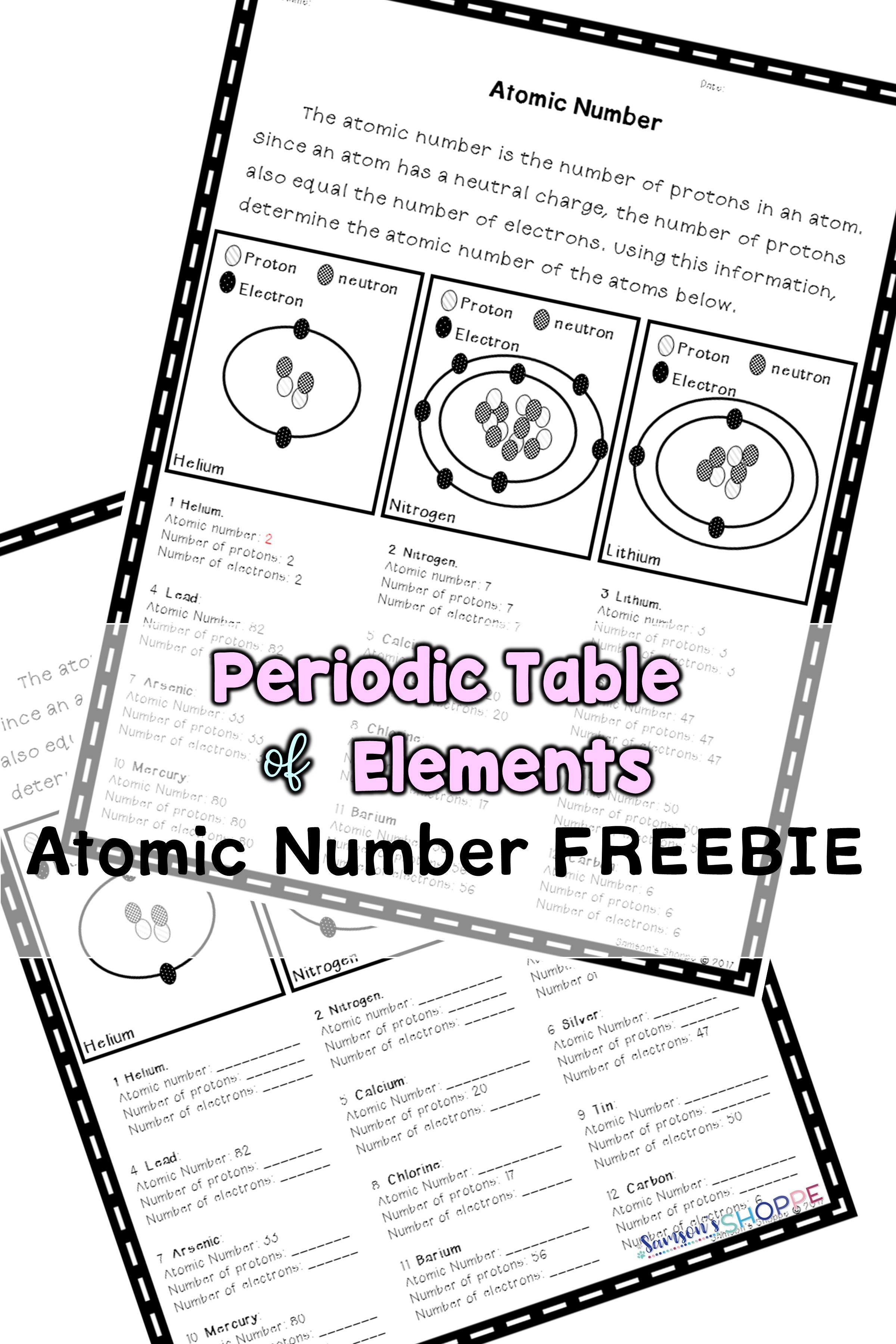 Atomic Number Review Activity