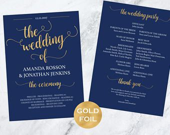 Find Stylish Elegant Navy Blue Wedding Programs With Modern Calligraphy For Your Party After