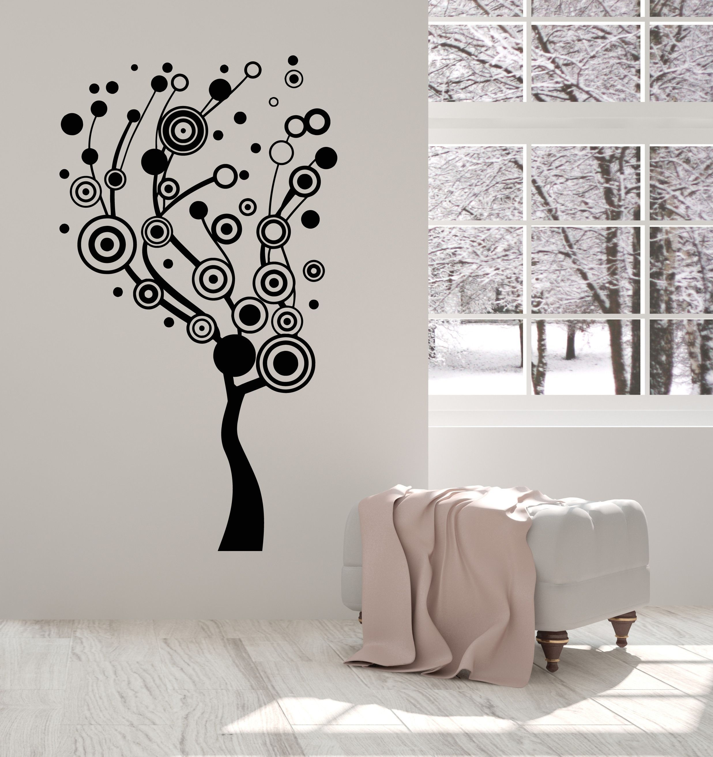 Vinyl Wall Decal Abstract Tree Circles Home Interior Ideas - Vinyl wall decals abstract