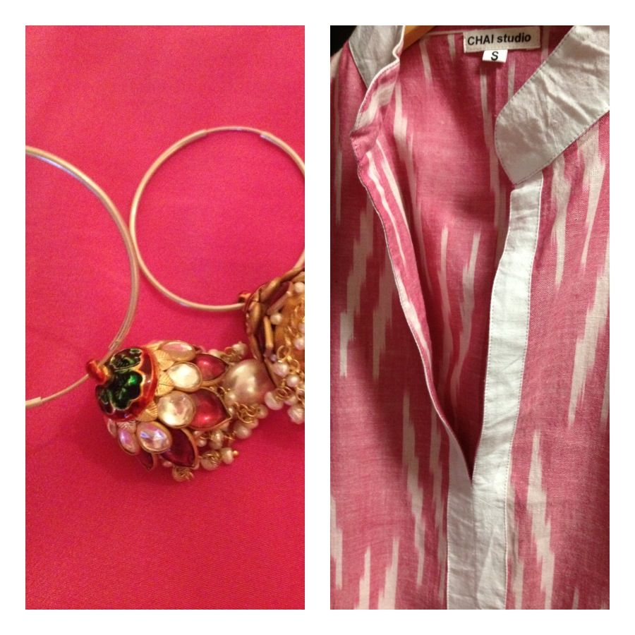 pink ikat tunic and jhoomka hoops