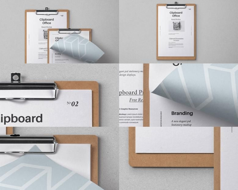 This Is A Modern And Subtle PSD Clipboard Mockup With Straight Folded Letterhead Paper PaperFree DesignClipboardsBranding
