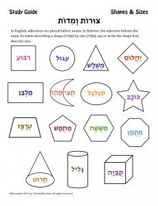 study guide shapes sizes teaching hebrew school hebrew school learn hebrew shapes. Black Bedroom Furniture Sets. Home Design Ideas