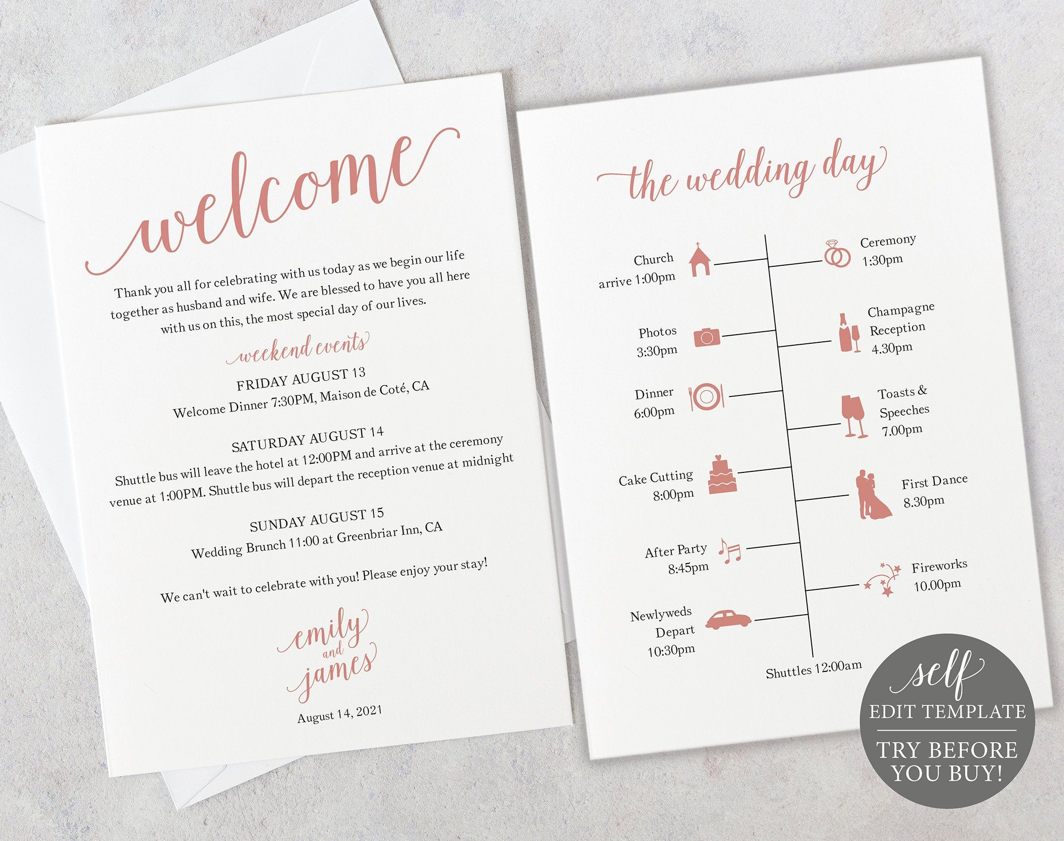 Wedding Itinerary Card Template, Free Demo Available