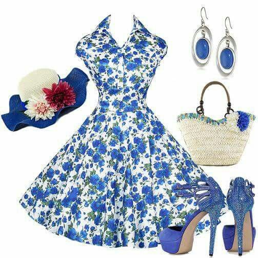 Blue floral outfit